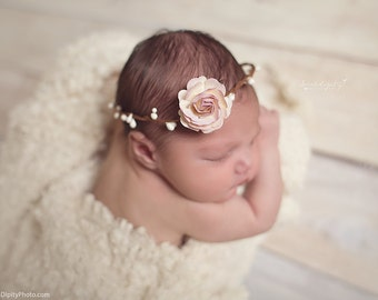Halo with 4CM (1.5 inch) Lilac & Cream Mulberry Rose, newborn photo shoot, bebe fotografia, baby headband by Lil Miss Sweet Pea