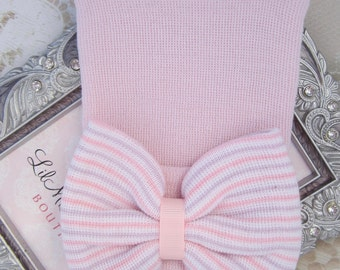 Newborn Hospital Hat, pink with pink, lavender and white stripes fabric bow, baby hat, from Lil Miss Sweet Pea