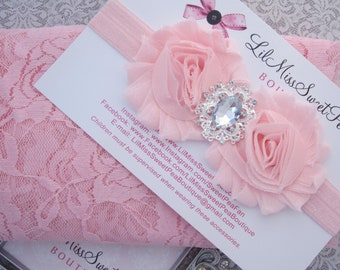 Baby Pink Stretch Lace Swaddle AND /OR Shabby Flower Headband with a Rhinestone Center for newborn photographs by Lil Miss Sweet Pea
