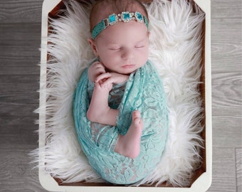 Aqua stretch lace swaddle wrap AND/OR silver and turquoise peacock elastic headband, newborn photo shoots, stretch lace, Lil Miss Sweet Pea