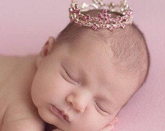 Silver and Pink Rhinestone Baby Crown, newborn or maternity, baby crown, tiara, Austrian Crystals, photographer, bebe by Lil Miss Sweet Pea