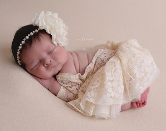 Cream Lace Romper, unlined w/sleeves, AND/or skirt AND/or rhinestone flower headband, Lil Miss Sweet Pea