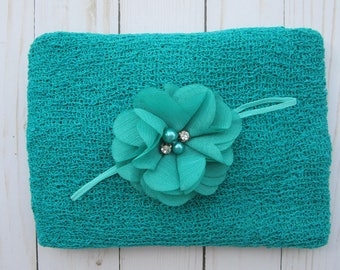 Peacock Blue Newborn Baby Swaddle Wrap AND/OR matching Flower Headband for newborn photo shoots, baby halo, pink wrap by Lil Miss Sweet Pea