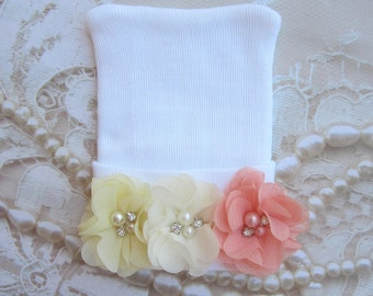 Flower Embellished Newborn Hospital Hat, 3 chiffon flowers, baby hat, Lil Miss Sweet Pea, infant beanie, shower gift, hat with bow