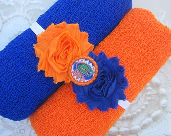 Florida Gatgors PROP SET- or individual pieces, Orange or Royal Blue Swaddle Wrap or Headband - sports, football, Lil Miss Sweet Pea 11/32