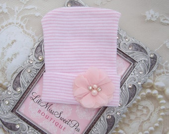 Newborn Hospital Hat, pink and white stripe with a pink chiffon flower, baby hat, from Lil Miss Sweet Pea Boutique
