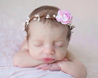 Flower Halo with 1.5 inch Pink and Cream Mulberry Rose, newborn photo shoot, bebe fotografia, baby halo by Lil Miss Sweet Pea