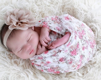 "White Printed Floral Stretch Lace Swaddle Wrap AND/OR Chiffon and Lace 4"" Flower Headband, newborn photo shoots, Lil Miss Sweet Pea"