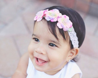 Halo of Pink velvet flowers on a lace headband, three 1.5 inch flowers makes the cutest headband for newborns by Lil Miss Sweet Pea