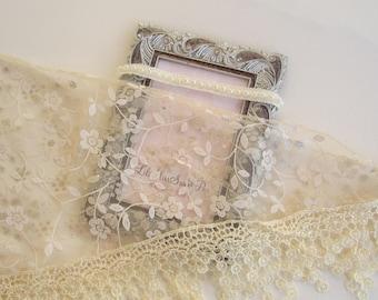 Lace Fringe Wrap in Beige AND/OR Pearl Trim Headband, newborn photo shoots, newborn wrap set, infant swaddle, bebe, Lil Miss Sweet Pea
