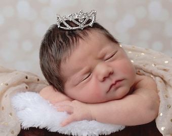 Crystal Baby Crown for newborn, maternity photo shoots, or cake topper, Austrian crystals, petite crown, by Lil Miss Sweet Pea