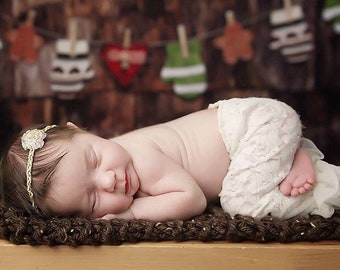 Gold & White Headband with a white organza flower, newborn headband,  bebe, handmade, by Lil Miss Sweet Pea