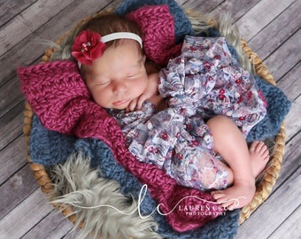 Shades of plum and slate blue print stretch lace swaddle AND/OR plum flower headband for newborn photo shoots, lace wrap by Lil Miss Sweet