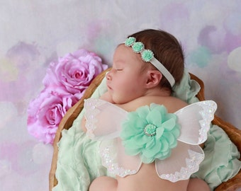 White Butterfly Wings with Mint Roses, photo prop, newborn photographers, baby wings by Lil Miss Sweet Pea