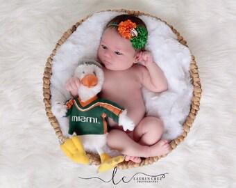 University of Miami Colors Headband, perfect for Newborn Photos, green and orange, football headband, sports headband by Lil Miss Sweet Pea