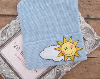 BOYS Newborn Hospital Hat with Sunshine and Clouds, infant beenie, hospital take home hat, new baby beenie by Lil Miss Sweet Pea