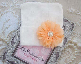 Newborn Hospital Hat, White with a Peach petal flower and pearl  button, baby hat, baby gift, new baby, from Lil Miss Sweet Pea Boutique