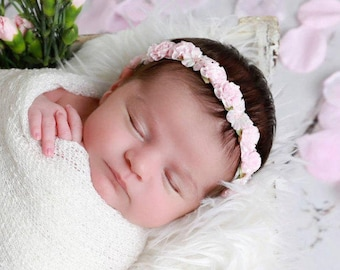 Baby Pink or Antique Mauve Flower Halo Headband for newborn photo shoots, infant hairband, baby halo, wedding halo, by Lil Miss Sweet Pea