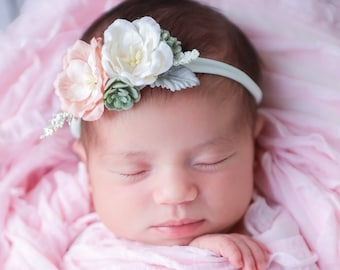 Couture Mulberry Flower Headband, baby photos, newborn photoshoot, photographer headband, ivory and blush flowers, by Lil Miss Sweet Pea