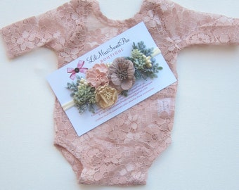 Newborn dusty rose lace romper, stretch lace, unlined, AND/OR succulent and flower headband, bebe foto, Photography set, Lil Miss Sweet Pea
