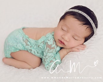 Newborn Lace Romper, mint stretch lace with sleeves, unlined, AND/OR rhinestone headband, photographer choice, bebe foto, Lil Miss Sweet Pea