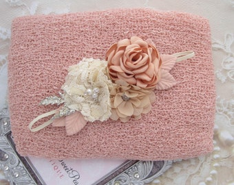 Blush Newborn Baby Knit Swaddle Wrap AND/OR Couture Flower Headband, newborn photos, bebe bandeau, Lil Miss Sweet Pea