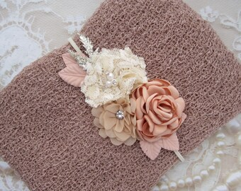Powder Newborn Baby Swaddle Wrap AND/OR Couture Flower Headband, newborn photos, bebe bandeau, Lil Miss Sweet Pea