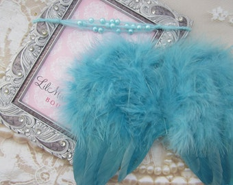 Turquoise Angel Wings and/or Matching Mohair Pearl Tieback, for newborns, photo shoots, photographers, baby photo, baby girls