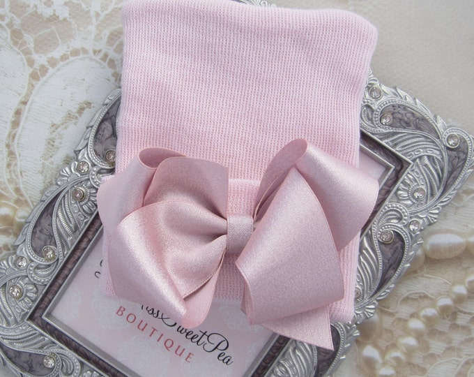 Featured listing image: NEW STYLE - Baby Pink Newborn Hospital Hat with pink satin bow, double ply, hospital hat, newborn baby hat, Lil Miss Sweet Pea Boutique