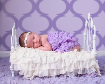 White Iridescent sequin flower halo headband, perfect for all ages and newborn photoshoots by Lil Miss Sweet Pea