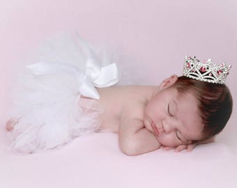 Silver and Pink Rhinestone Hearts Baby Crown, newborn, maternity, baby crown, tiara, ready to ship, bebe by Lil Miss Sweet Pea