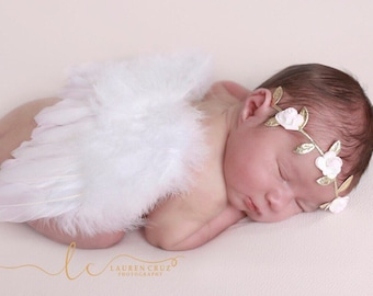 Newborn White Angel Feather Wings AND/OR Foil Leaf Paper Flower Headband by Lil Miss Sweet Pea