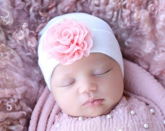 Newborn Hospital Hat, white with 2.75 inch pink chiffon flower, baby hat, infant beanie, shower gift, infant hat, gift, Lil Miss Sweet Pea