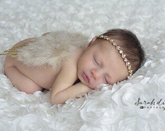 Gold & Tan Feather Angel Wings with Gold Glitter AND/OR Gold Rhinestone Headband, fotograf, photo prop, Lil Miss Sweet pea