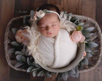 Textured Off-white Knit Swaddle Wrap or Layering for Newborn Photos AND/OR Matching Couture Flower Headband bebe bandeau Lil Miss Sweet Pea
