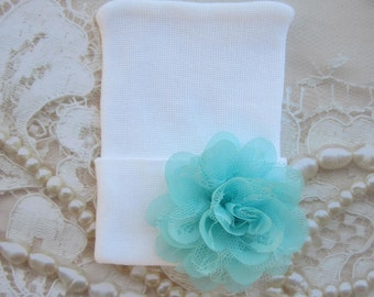 Newborn Hospital Hat, white with an aqua chiffon and lace flower, take home beanie, beenie, infant, baby hat, Lil Miss Sweet Pea Boutique