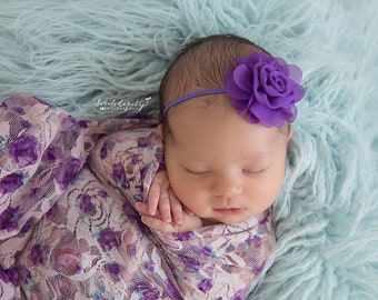Photographer Swaddle Wrap Set, Choose 1, 2 or ALL 3 headbands, newborn photo shoots, Purple Print Lace Swaddle Wrap, Lil Miss Sweet Pea