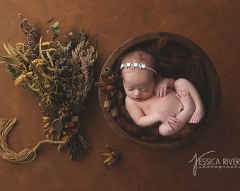 Silver Leaf with Rhinestones and Roses Headband for newborn photos, bebe, baby bling by Lil Miss Sweet Pea