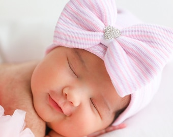 Rhinestone Heart - Newborn Hospital Hat, pink, white and lavender stripe, baby hat, bebe, newborn beanie, Lil Miss Sweet Pea Boutique