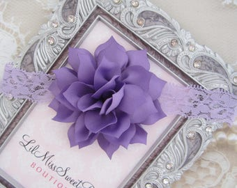"Lavender Lace 3"" Flower Headband - newborn photos, photo prop, newborn photographers by Lil Miss Sweet Pea"