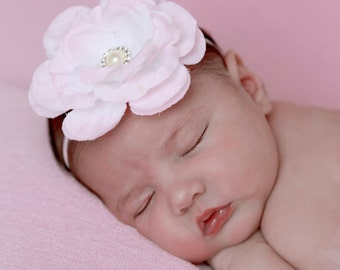 Pink Rose with a Pearl and Rhinestone Center on skinny elastic. Perfect for all ages, newborn photos, Lil Miss Sweet Pea, Baby Headband