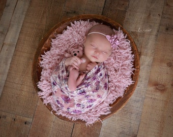 Photographer Purple Rose Lace Swaddle Wrap AND/OR Flower Headband, newborn photo shoots, Lil Miss Sweet Pea