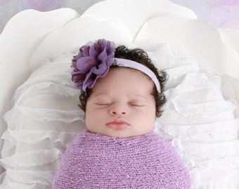 Lilac Newborn Baby Swaddle Wrap AND/Or Headband in Purple Chiffon and Lace, lavender, bebe, foto, infant swaddle, by Lil Miss Sweet Pea