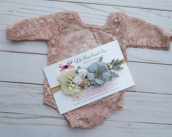 Lace Romper, Stretch lace, w/sleeves, periwinkle blue, ivory or dusty rose, unlined, AND/OR cluster flower headband, Lil Miss Sweet Pea