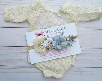 Lace Romper, Stretch lace, w/sleeves, periwinkle blue, ivory or rose, unlined, AND/OR cluster flower headband, bebe foto, Lil Miss Sweet Pea