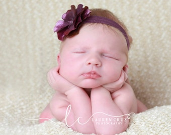 Purple glossy flower on a plum headband, perfect for fall for all ages, for newborn photo shoots to adults