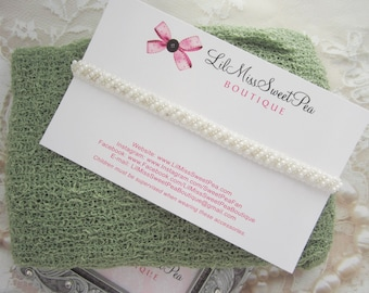 Sage Knit Swaddle Wrap AND/OR Off-white Pearl Beaded Braided Headband - newborn photo shoots, Baby Shower Gift, by Lil Miss Sweet Pea