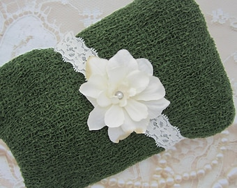 Evergreen Knit Wrap AND / OR Matching Ivory Delphinium Flower Headband set for photo shoots, green is perfect for boys, order separately