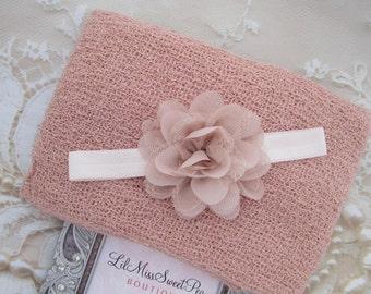 """Blush Knit Wrap AND/OR Matching 3"""" Blush Chiffon and Lace Flower Headband, photo shoots, newborn swaddle wrap, bebe foto, Lil Miss Sweet Pea"""