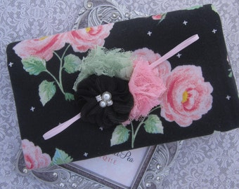 Black, Pink & Green Floral Knit Wrap AND/OR Matching Cluster of Chiffon and Lace Flowers Headband, swaddle, bebe foto, Lil Miss Sweet Pea